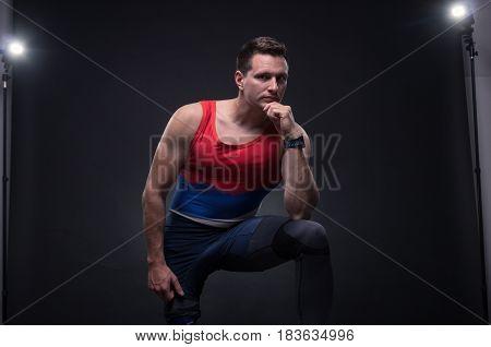 Man Sportsman Athlete Posing, Prosthetic Leg, Reflectors Lights
