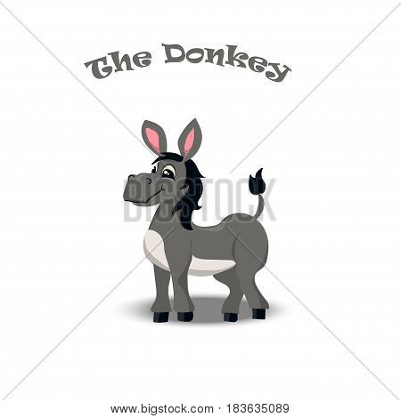 Very high quality original trendy vecot illustration of happy and cheerful donkey, farm animal