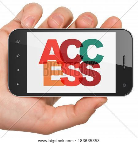 Safety concept: Hand Holding Smartphone with Painted multicolor text Access on display, 3D rendering