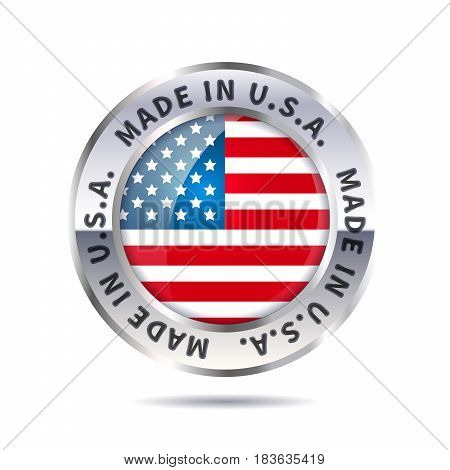 Glossy metal badge icon, made in USA with flag