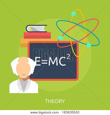 Theory Conceptual Design | Great flat illustration concept icon and use for science, research, technology, physics, chemistry and much more.