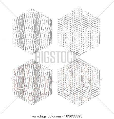 Two different complicated hexagon-shape labyrinths with red path of solution isolated on white
