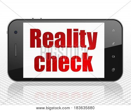 Finance concept: Smartphone with red text Reality Check on display, 3D rendering