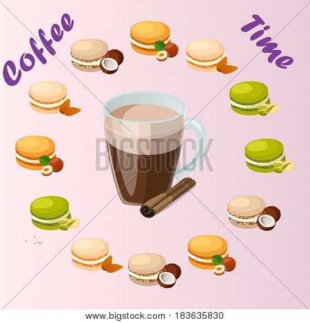Very high quality original trendy vector illustration cup of cinamon coffee and macaroons cookie with different taste