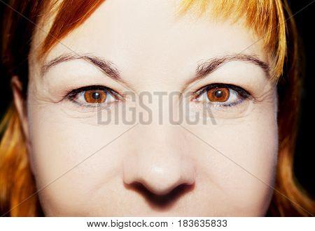 A beautiful insightful look woman's eyes. Close up shot