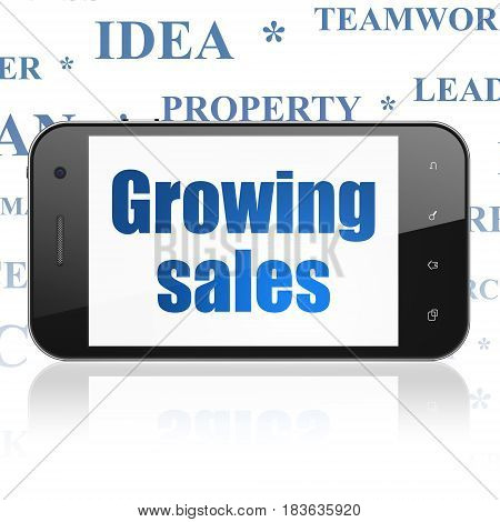 Finance concept: Smartphone with  blue text Growing Sales on display,  Tag Cloud background, 3D rendering