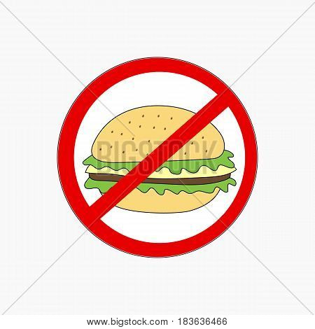 No Hamburger fastfood icon flat style vector illustration
