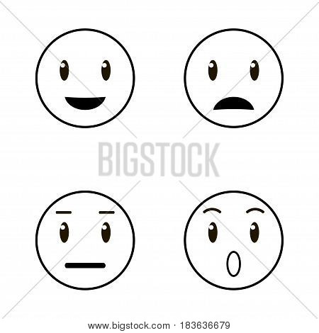 Set of emoticons, emoji icon isolated on white background. Black and white