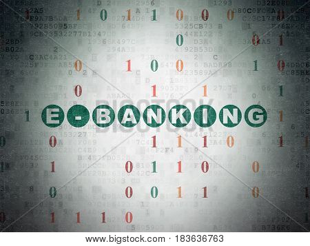 Finance concept: Painted green text E-Banking on Digital Data Paper background with Binary Code