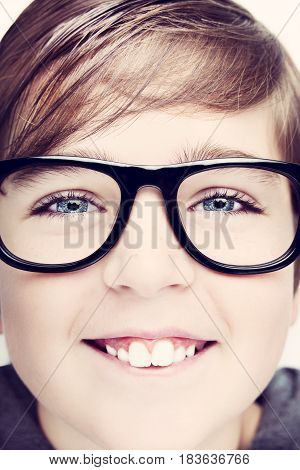 Handsome Boy Is Wearing Eyeglasses. Isolated On White Background