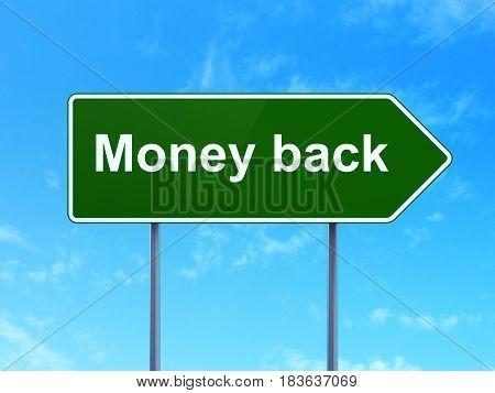 Business concept: Money Back on green road highway sign, clear blue sky background, 3D rendering