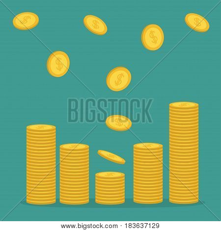 Stacks of gold coin icon flying falling down. Diagram shape. Dollar sign symbol. Cash money. Going up graph. Income and profits. Growing business concept. Green background. Isolated Flat design Vector