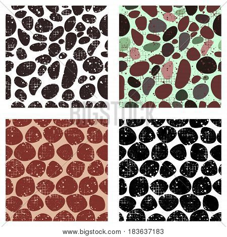 Set Of Vector Seamless Patterns With Abstract Stones. Creative Different Grunge Backgrounds With Roc