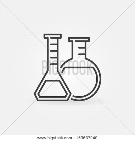 Laboratory glassware line icon - vector flasks sign or chemistry concept symbol in thin line style