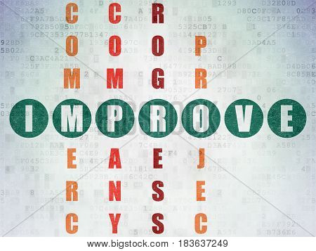 Business concept: Painted green word Improve in solving Crossword Puzzle on Digital Data Paper background