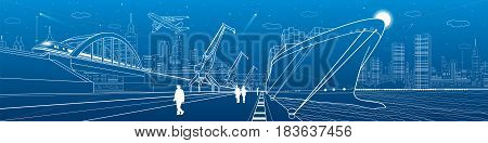 Transportation and industrial panorama. Cargo ship loading, boats on the water, sea harbor. Train move on railway bridge. Airplane fly. People walking. Infrastructure illustration. Vector design art