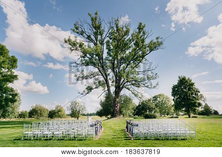 The place for the wedding ceremony. White wedding chairs are arranged. A huge lair for a wedding ceremony, a green lawn and a blue sky