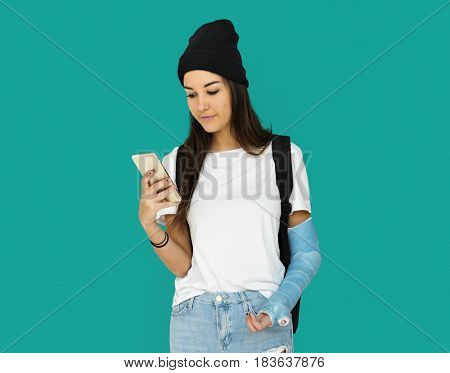 Young Adult Woman Student Using Mobile Phone Studio Portrait