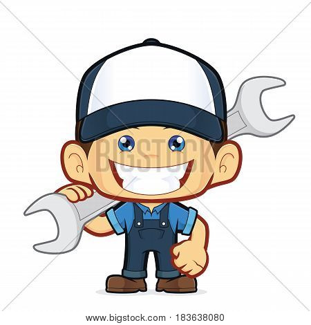 Clipart picture of a mechanic cartoon character holding a huge wrench