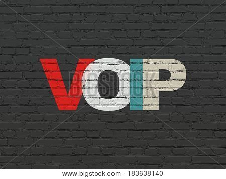 Web development concept: Painted multicolor text VOIP on Black Brick wall background