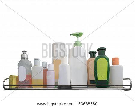 group of Plastic Bottles on shelf on white background
