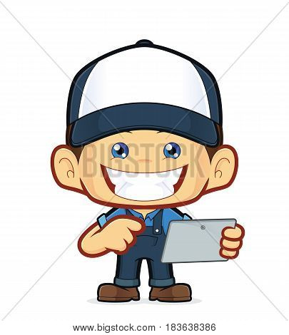 Clipart picture of a mechanic cartoon character holding tablet pc