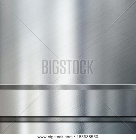 metal stripes over brushed aluminum metallic background 3d illustration
