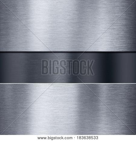 metal plates over dark brushed metallic background 3d illustration