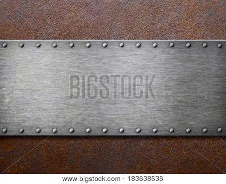 old steel plaque on rust metal 3d illustration