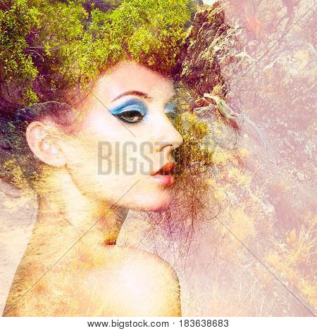 Portrait of beautiful woman with elegant hairstyle. Fashion photo. Double exposure portrait of woman combined with photograph of nature