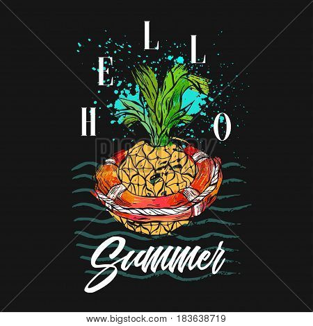 Hand drawn vector abstract tropical illustration with pineapple in red lifebuoy on sea waves, freehand textures and modern calligraphy summer time quote Hello Summer isolated on black background.
