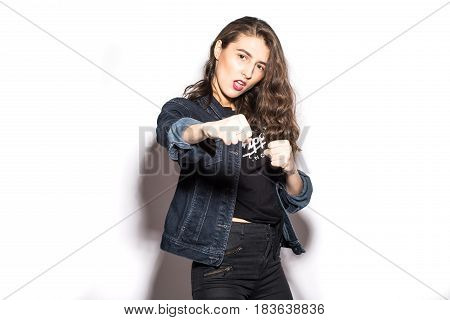 Style Cool Hipster Girl Giving Punch Over Isolated White Background