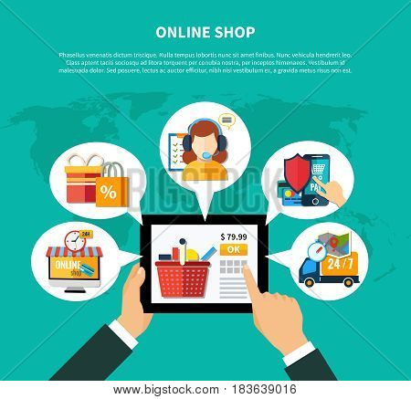 Online shop composition with man s hand tap on button in the tablet for purchase vector illustration