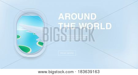 Banner with airplane window. cartoon flat illustration with place for text. Porthole, view on the plane wing