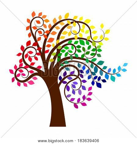 Abstract tree with rainbow leaves, isolated vector