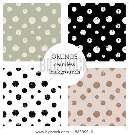 Set Of Seamless Vector Patterns. Geometric Polka Backgrounds With Circles. Grunge Texture With Attri
