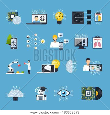 Neural meshes networks isolated decorative icons set on theme of deep learning speech and image recognition telemedicine flat vector illustration