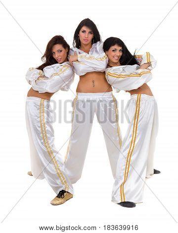 Modern dancer team dancing, isolated on white background in full length.