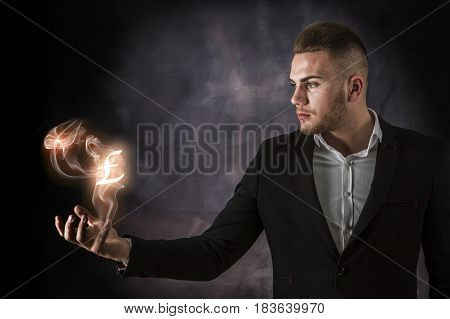 Business Man With Pound On Fire