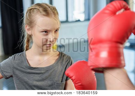 Preteen Girl Boxing With Trainer. Fitness Manager, Gym Class Kids Concept