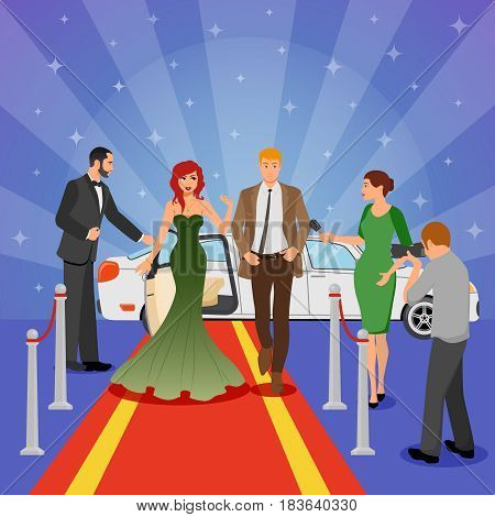 Celebrity design composition with young woman in evening dress on red carpet white limousine and interviewing journalists flat vector illustration