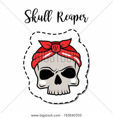 Fashion patch element with quote, Skull reaper. Vector illustration