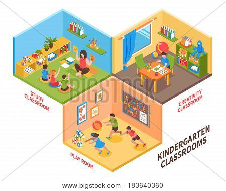Kindergarten indoor isometric design concept with children and teacher in study classroom play room and creativity classroom vector illustration