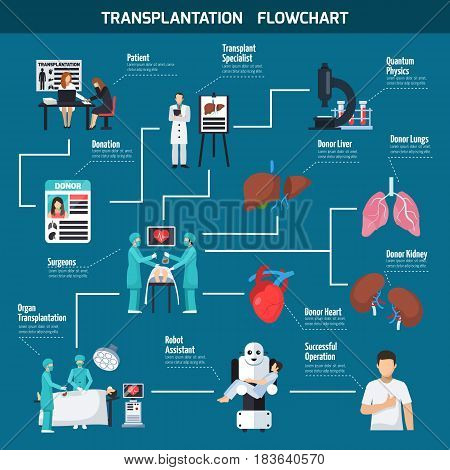 Transplantation flowchart layout with patient surgeons donor heart lungs liver robot assistant icons flat vector illustration