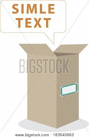 Realistic cardboard box on white background. container, packaging. Vector illustration
