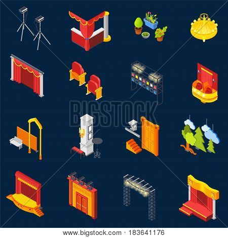 Theatre isometric icons set on blue background isolated vector illustration