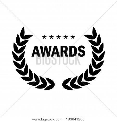Film Award for the best film in the form of logo with laurel branch. Movie Theater Cinematic Award Movie Premiere. Flat vector cartoon illustration. Objects isolated on white background.
