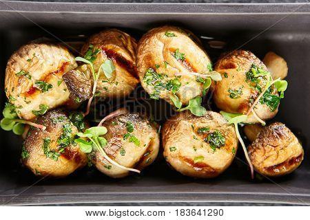 Restaurant Food - Fried Mushrooms with Greens. Gourmet Restaurant Garnish Menu