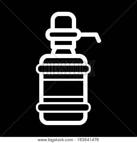 The water package with pump. White outline icon on black background. Eps 10
