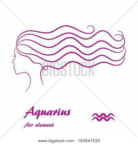 Aquarius zodiac sign. Stylized female contour profile.